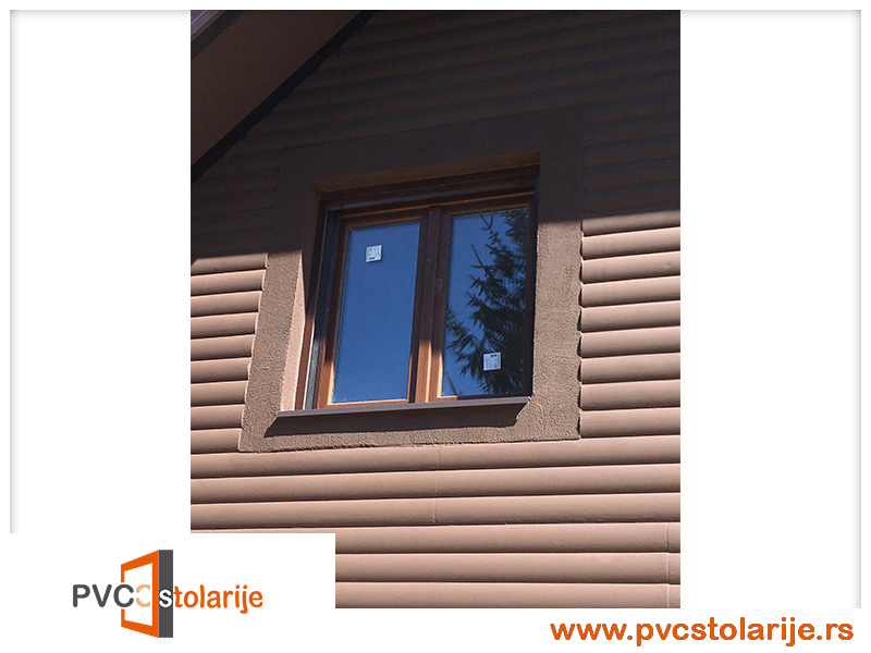 Dvokrilni PVC prozor ugradnja - 140/160, roletna, imitacija tamnog hrasta - rehau ecosol