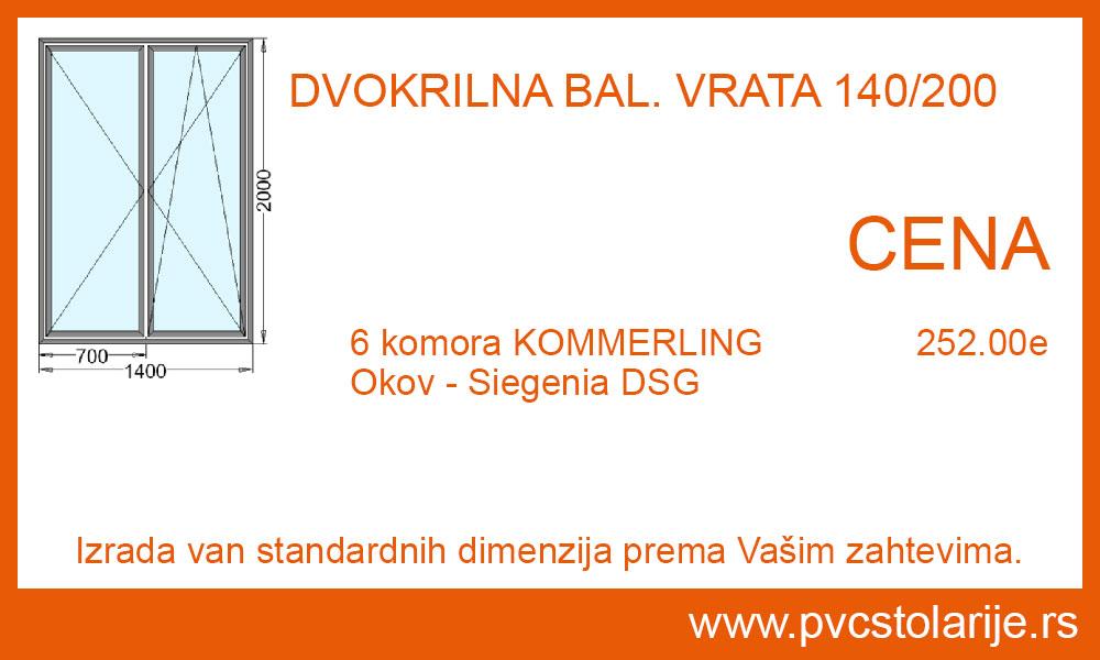 Dvokrilna balkonska vrata 140x200 cena