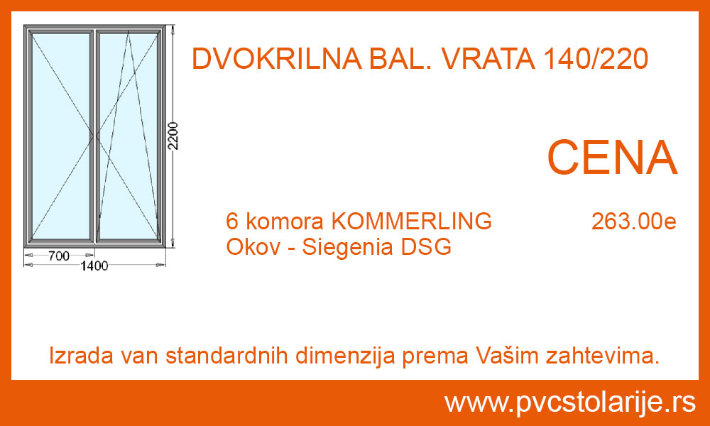 Dvokrilna balkonska vrata 140x220 cena