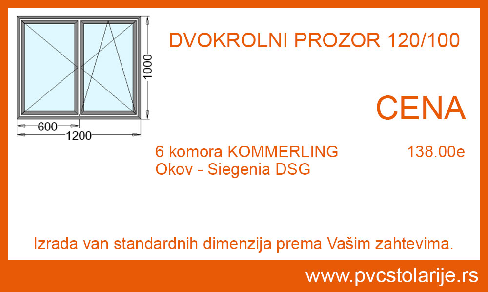 Dvokrilni prozor 120x100 cena