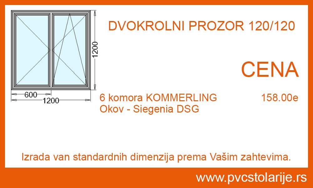 Dvokrilni prozor 120x120 cena