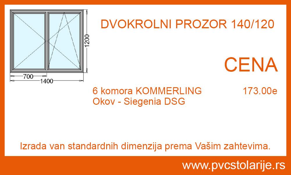 Dvokrilni prozor 140x120 cena