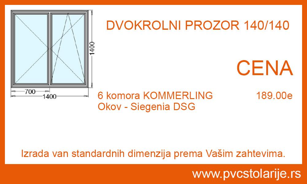 Dvokrilni prozor 140x140 cena