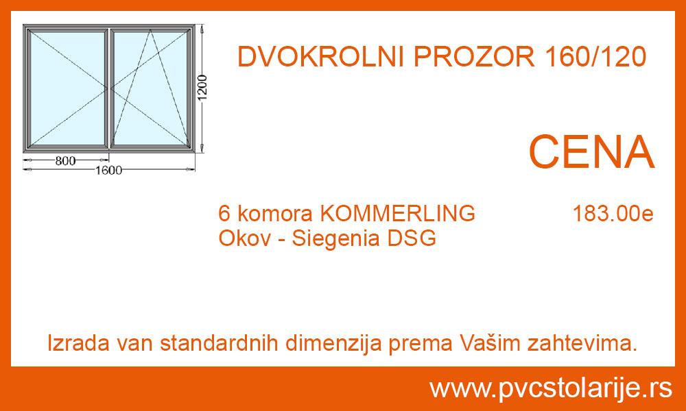 Dvokrilni prozor 160x120 cena