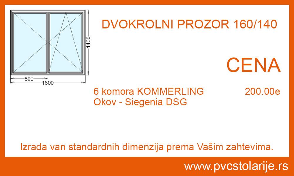 Dvokrilni prozor 160x140 cena