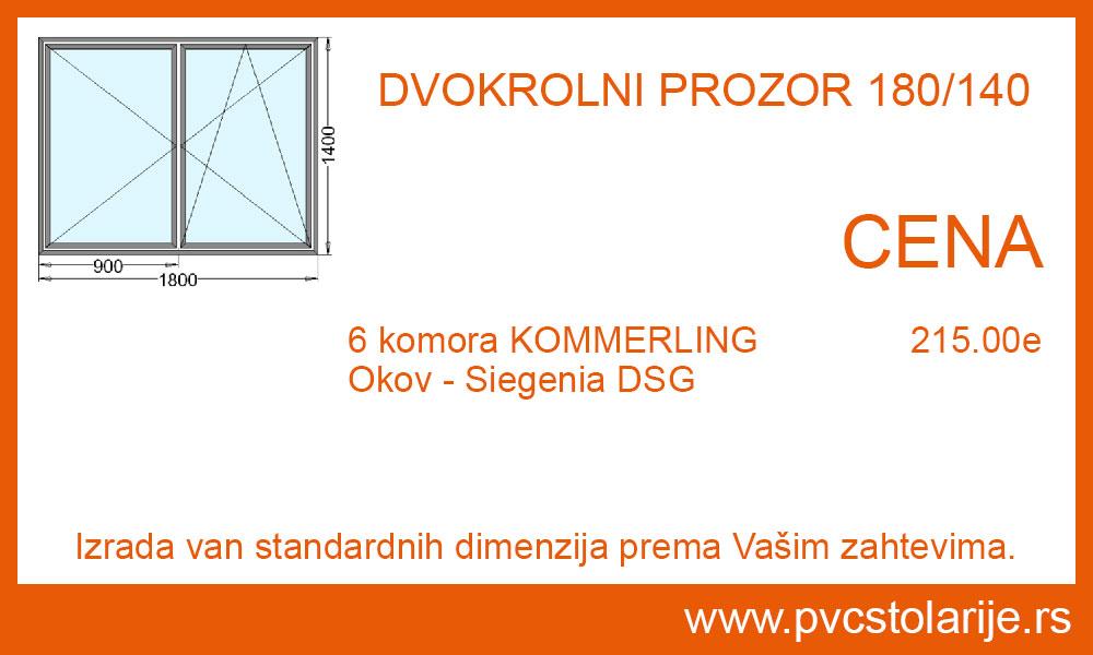 Dvokrilni prozor 180x140 cena