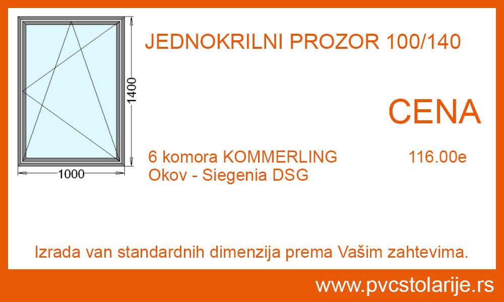 Jednokrilni prozor 100x140 cena