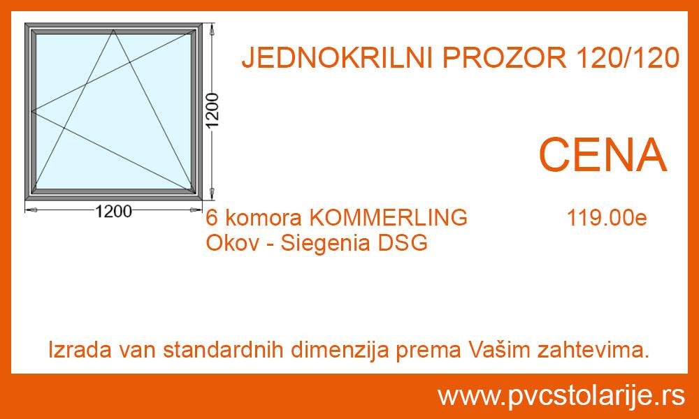 Jednokrilni prozor 120x120 cena