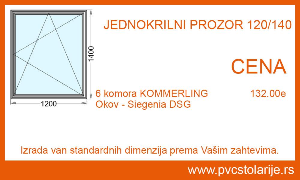 Jednokrilni prozor 120x140 cena