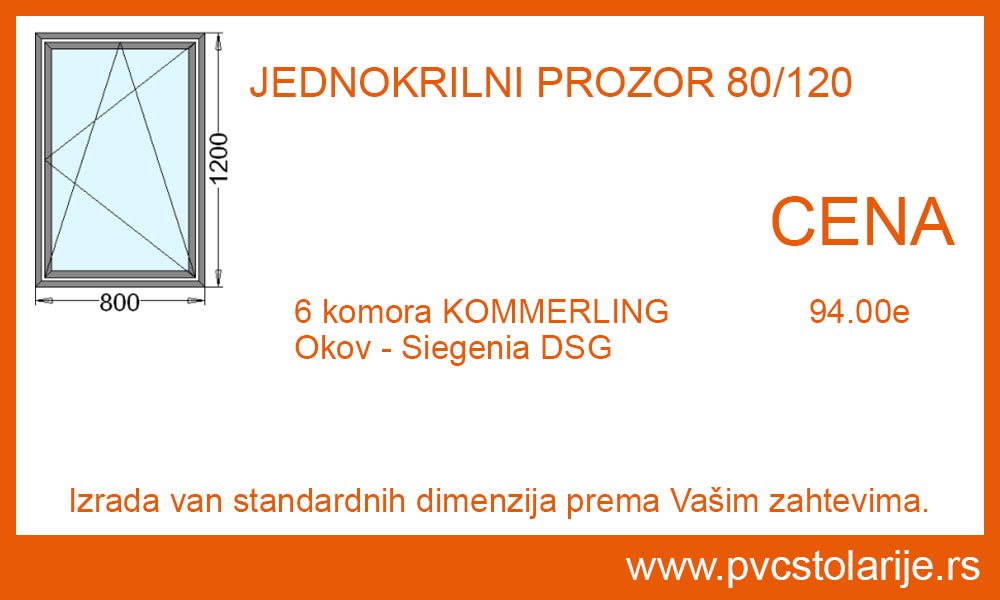 Jednokrilni prozor 80x120 cena