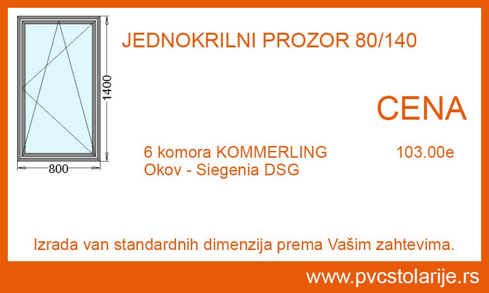 Jednokrilni prozor 80x140 cena